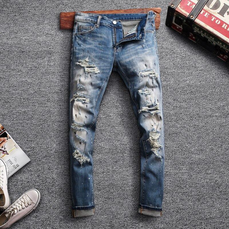 Moda De Venta Al Por Menor Pantalones Vaqueros Para Hombre Pantalones Vaqueros Rotos Retro Azul Diseno De Pintura Rota Pantalones De Motorista Para Hombre Pantalones Vaqueros Ajustados De Hip Hop Para Hombre Pantalones