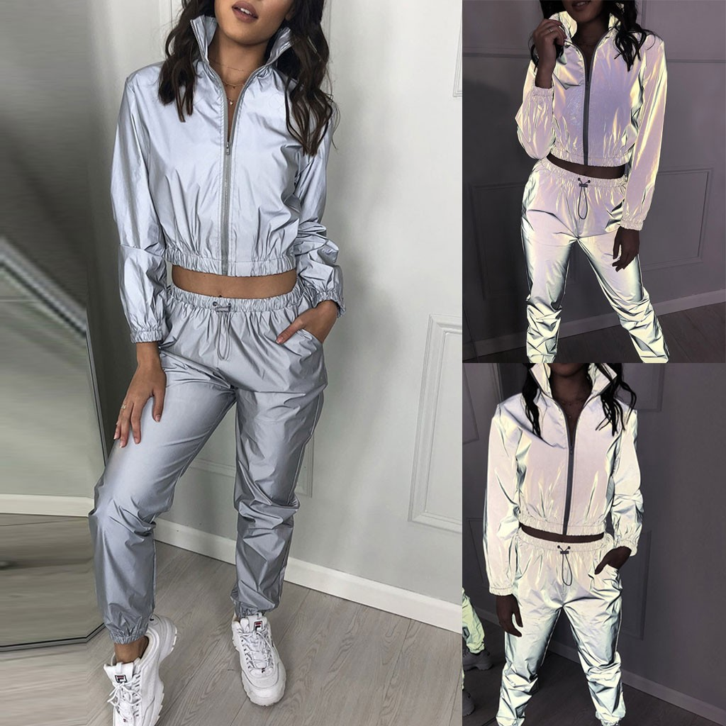 Feitong Reflective-Set Long-Sleeve Pants Crop-Tops Sports-Suit Feminino Casual Fashion title=
