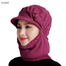 SUOGRY 2019 New Women Siamese Knitted Hats Set Scarf Autumn Winter Rabbit Fur for Ladies Beanie Warm