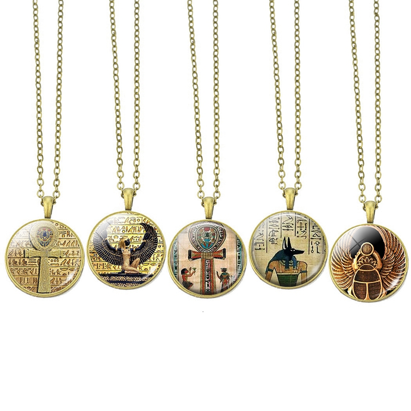 Vintage Jewelry Cleopatra Egyptian Queen Amulet Pendant Ethnic Ancient Ankh Cross Chafer Beetle Bronze Necklace for Women Men