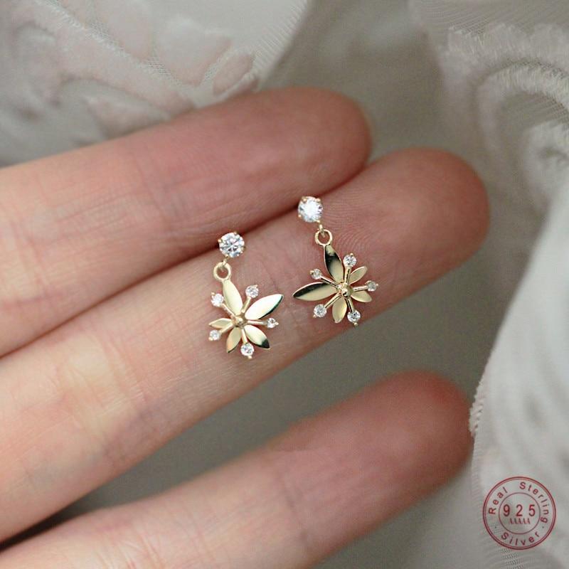 925 Sterling Silver European Style 14k Gold Plating Earrings Women Simple Small Fresh Flower Earrings Exquisite Fashion Jewelry