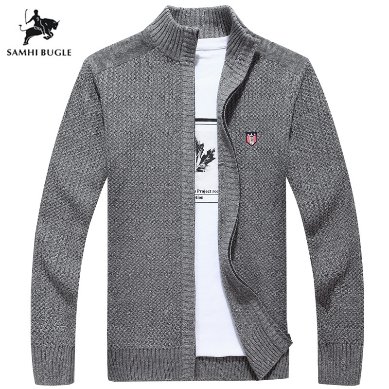 Mens Sweaters For 2019 Autumn Winter Brand Sweater Men 100% Cotton Pure Color Zipper Cardigan Sweater Men Turtleneck Sweater