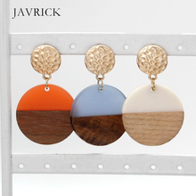 Resin Wood Art Round Discs Natural Wooden Drop Earrings Women Fashion Jewelry Dangle Earring Ear Gift