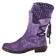 Зимние женские высокие ботинки с круглым носком на шнуровке