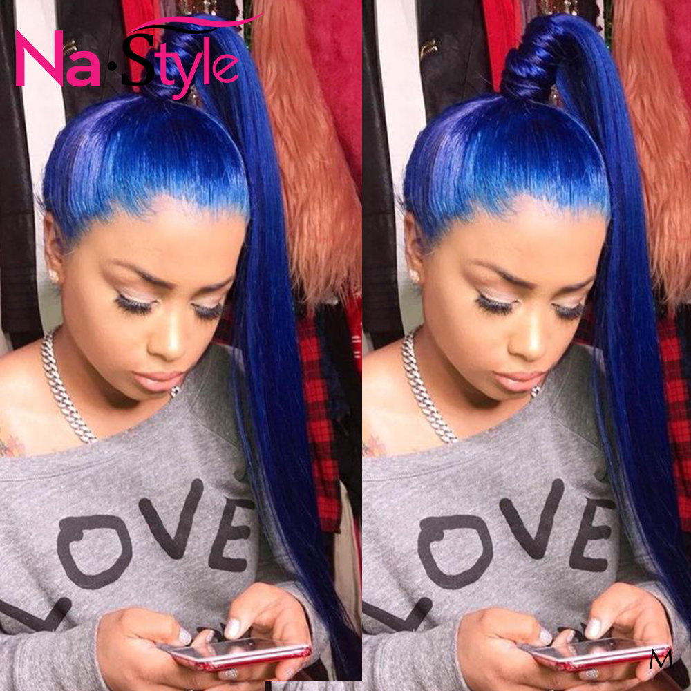 Blue Lace Front Wig PrePlucked With Baby Hair Colored Human Hair Wigs For Black Women 13x6 Straight Lace Wig Humain Hair 130Remy