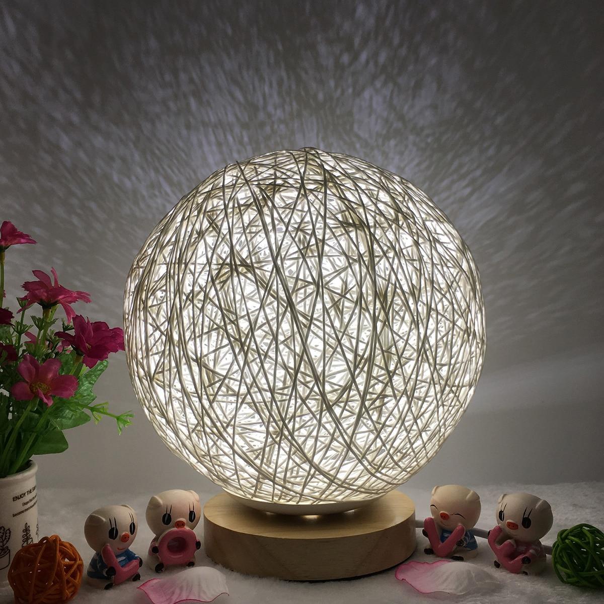 Lámpara de mesa creativa, pantalla de madera tejida a mano, lámpara de Luna, Lámpara USB para dormitorio, decoración de boda, luz de noche de luz de luna