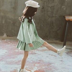 Image 4 - Meisjes Kleding Plooirok & Jas Meisjes Kleding Effen Bovenkleding Pak Voor Meisjes School Uniform Mode Kid Winter Kleding