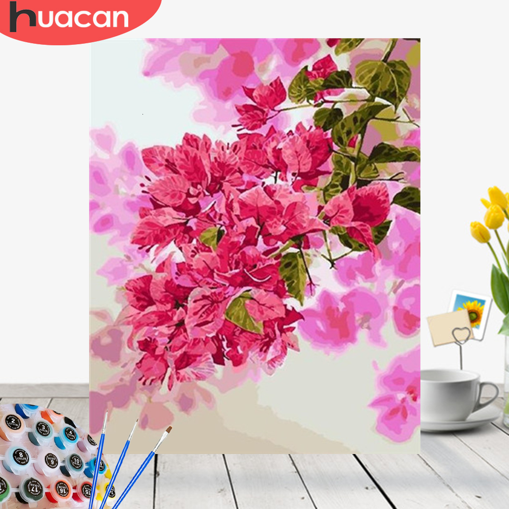 HUACAN Pictures By Numbers Flowers HandPainted Drawing Canvas Painting Kits DIY Coloring Gift Home Decor
