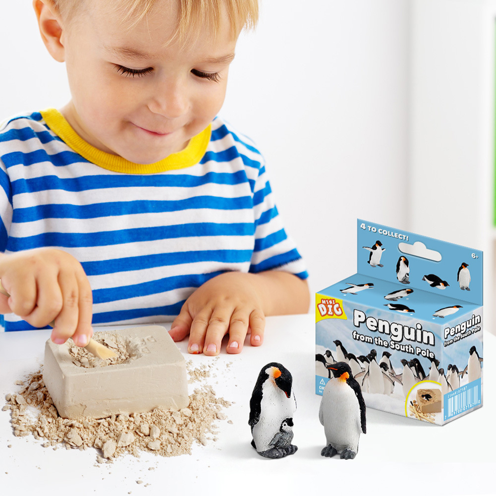 DIY  Novelty Mining Penguin Pirate Treasure Gem Children's Educational Exploration Digging Toys Novelty Puzzle