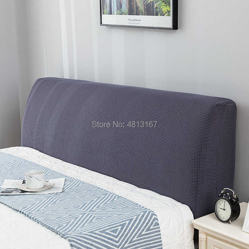 Easy-Going Stretch Bed Headboard Cover,Small Square Jacquard Headboard Slipcover Twin,Chocolate Dustproof Bed Head Cover for Bedroom