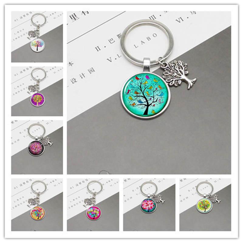 New Fashion Life Tree Glass Pendant DIY Charm Metal Keychain Jewelry Wholesale