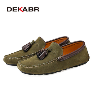 Image 2 - Dekabr本革男性靴春のファッション革の男性フラッツ新高品質カジュアルシューズを駆動するための