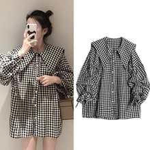 2021 nova primavera outono feminino coreano gravata borboleta manga longa camisas femininas xadrez do vintage plus size 4xl peter pan colarinho blusas a94