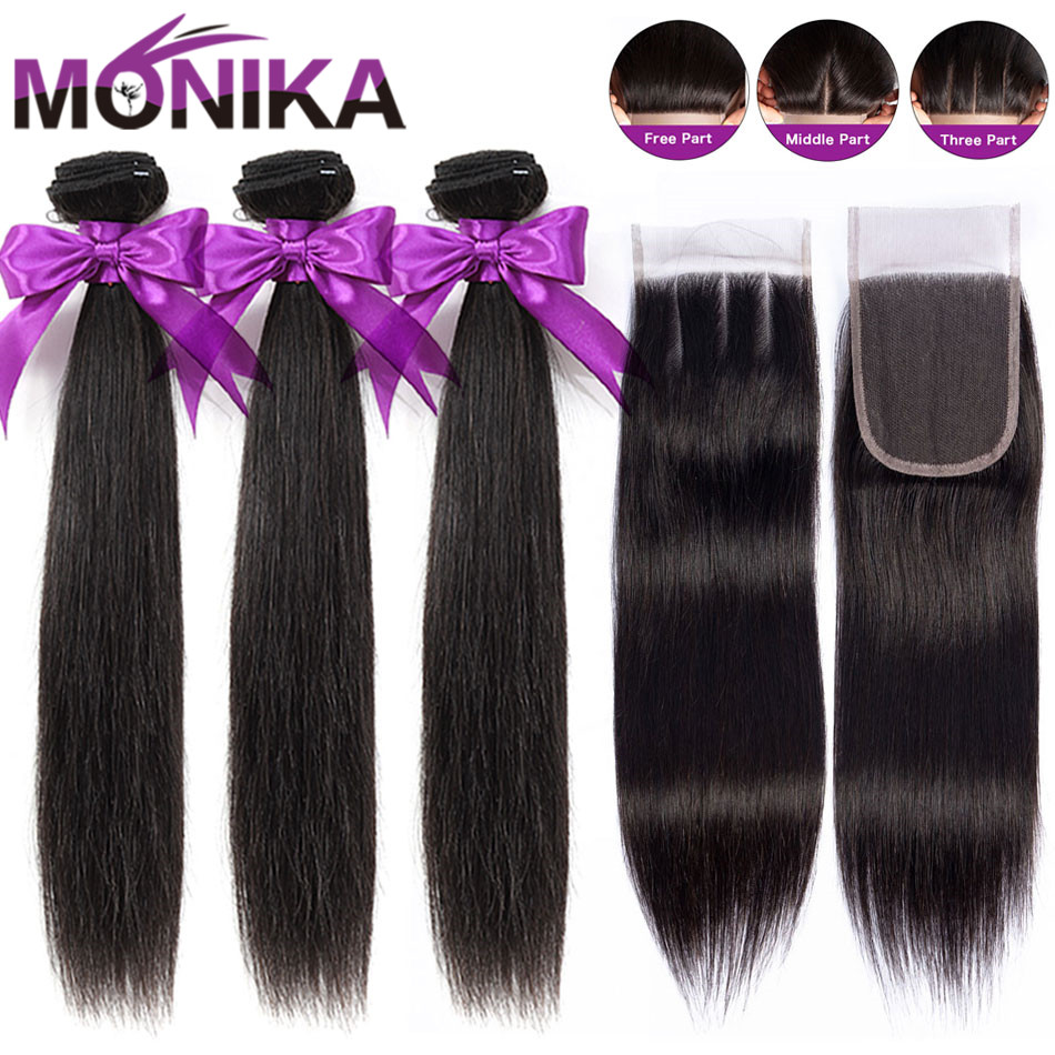 Monika Hair Brazilian Straight Hair Bundles With Closure 30 Inch Human Hair 3 Bundles With Closure Non Remy Closure With Bundles