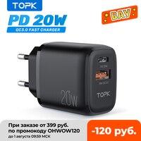 TOPK-cargador de teléfono portátil B210P de 20W, Cargador USB tipo C para iPhone 12 11 Pro Max, carga rápida 3,0, enchufe USb