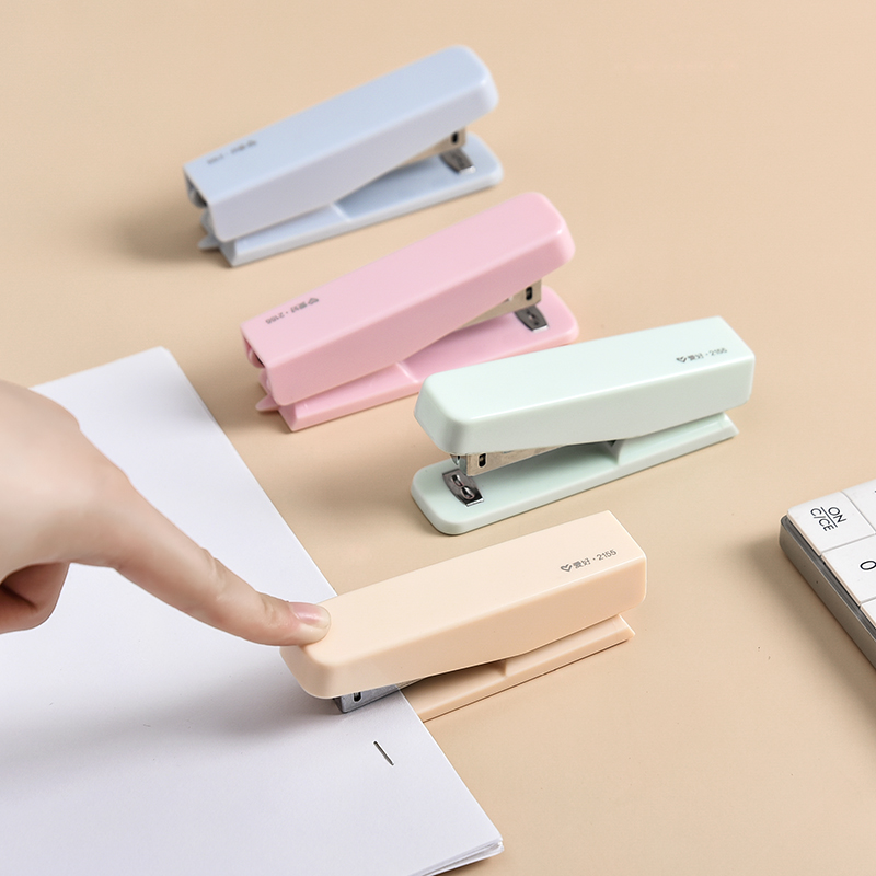 Pure Color Portable Mini Stapler Set With 1000pcs Staples 10# Stationery Office Binding Tool School Binder Teacher Gift F146