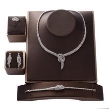 Conjunto de jóias hadiyana na moda zircônia luxo feminino casamento festa de noiva colar brincos anel e pulseira conjunto cn1373 bisuteria