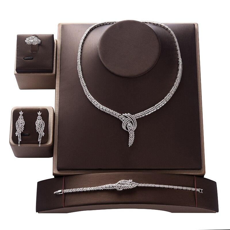 Ensemble de bijoux HADIYANA à la mode zircone luxe femmes fête de mariage collier de mariée boucles d'oreilles anneau et Bracelet ensemble CN1373 bisutérus ia