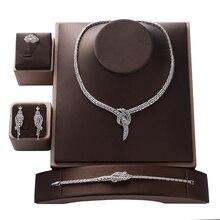 Комплект ювелирных изделий HADIYANA модный циркониевый роскошный женский свадебный вечерний свадебный комплект из ожерелья и сережек с кольцом и браслетом cn135bisuteria