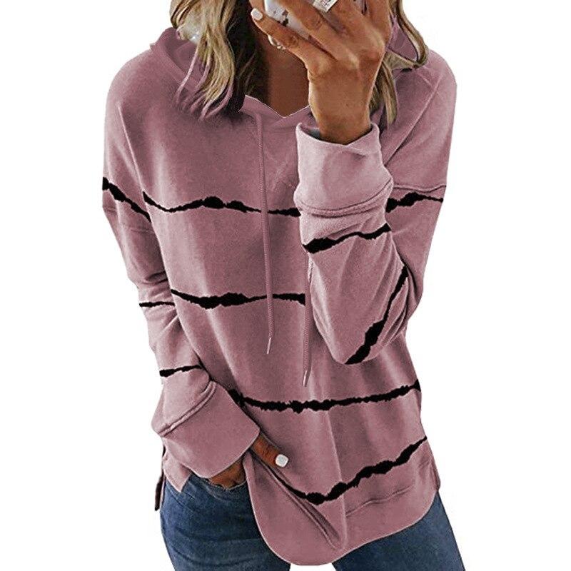 Oversize Women Tie Dye Drawstring Hooded Sweatshirt Autumn 2020 New Winter Long Sleeve Casual Loose Hoodies Tops Plus Size S-5XL 10