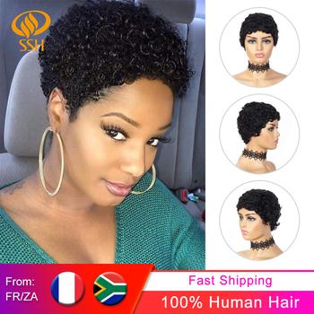 Afro kręcone krótkie peruki 100 ludzki włos kręcone peruka z grzywką fryzura Pixie afrykańskie puszyste peruki z kręconymi włosami dla czarnych kobiet czarny kolor tanie i dobre opinie CN (pochodzenie) Remy włosy Sassy Curl Brazylijski włosy Średnia wielkość Średni brąz Ciemniejszy kolor tylko Elastyczne koronki