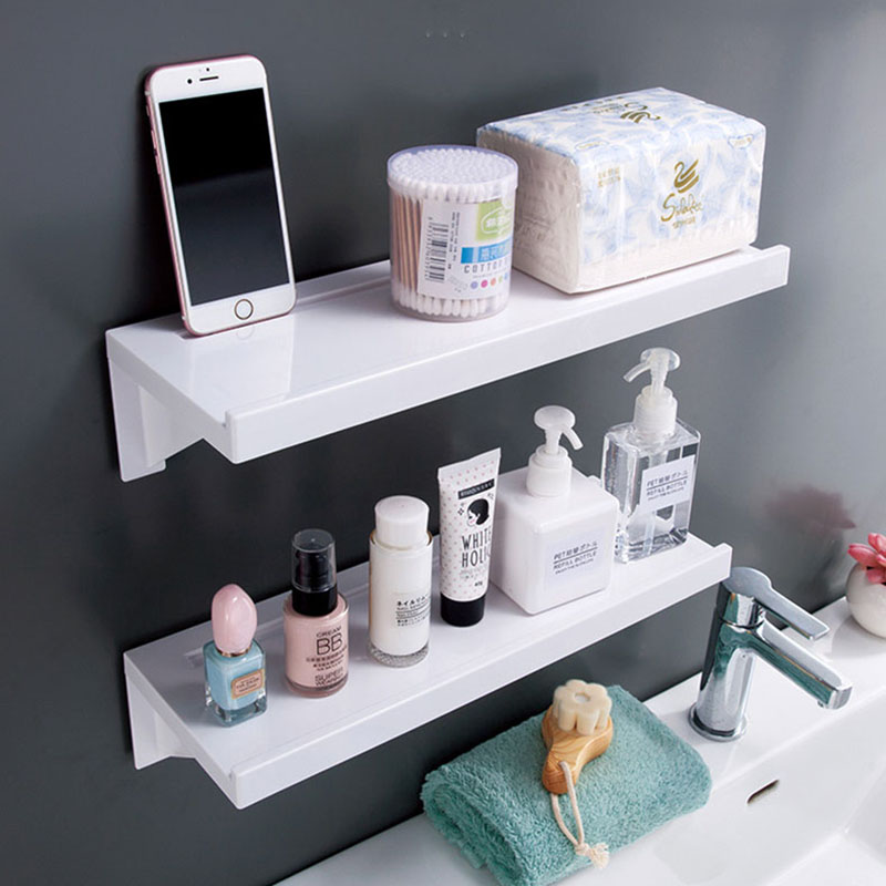 Large Bathroom Storage Shelf Organizer Rack Toilet Wall Shelves Plastic Waterproof White Bathroom Organizer Home Accessories