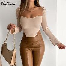 Hugcitar – t-shirt à manches longues et col carré uni pour femme, haut irrégulier, Streetwear décontracté, collection automne-hiver 2020