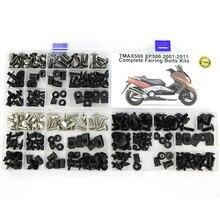 مجموعة مسامير انسيابية كاملة لدراجة نارية Yamaha Tmax500 Tmax 500 2001 2011 مجموعة مسامير غطاء جانبي للتزيين الكامل مسامير صواميل فولاذية