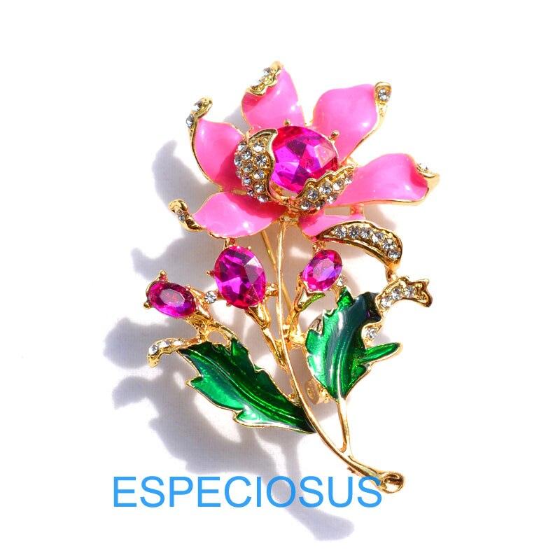 Элегантная булавка золотого цвета для женщин, подарки фиолетового цвета, цветок, стразы, брошь для груди, аксессуары, ювелирное изделие, окрашенная металлическая брошь, одежда - Окраска металла: rose