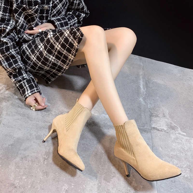 Black Beige Suede Thin High Heel Ankle Boots Women 2019