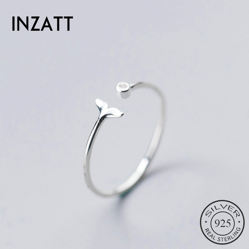 INZATT Real 925 Sterling Silver Fish Tail Zircon Ring For Fashion Women Party Cute Fine Jewelry Accessories Birthday Gift