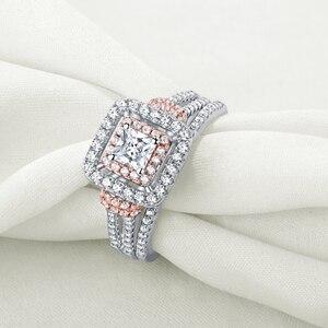 Image 4 - Newshe kobiet stałe 925 Sterling Silver Halo różowe złoto kolor zestaw obrączek ślubnych niebieskie kamienie boczne Upmarket biżuteria BR0760