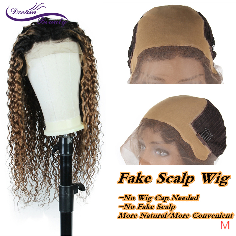 "Dream Beauty Curly Fake Scalp 13*6 Lace Front Human Hair Wigs Middle Ratio 8""-24"" Brazilian Ombre Color Remy Hair"