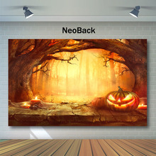 Mysterious Forest Halloween Backdrop Old Trees Pumpkin Lanterns Photography Backdrops Kids Children Night Party Photo Background