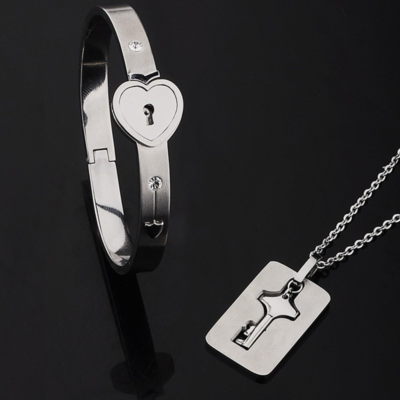 H8974290acbaa47d0b26554458c2a05f5n - Fashion Jewelry Sets For Lovers Stainless Steel Love Heart Lock Bracelets Bangles Key Pendant Necklace Couples Set