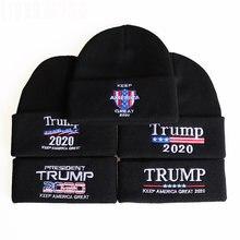 Chapéu de malha donald trump 2020 campanha eleitoral dos eua gorro elástico boné headwear inverno ao ar livre vestuário acessórios chapéus bag4207