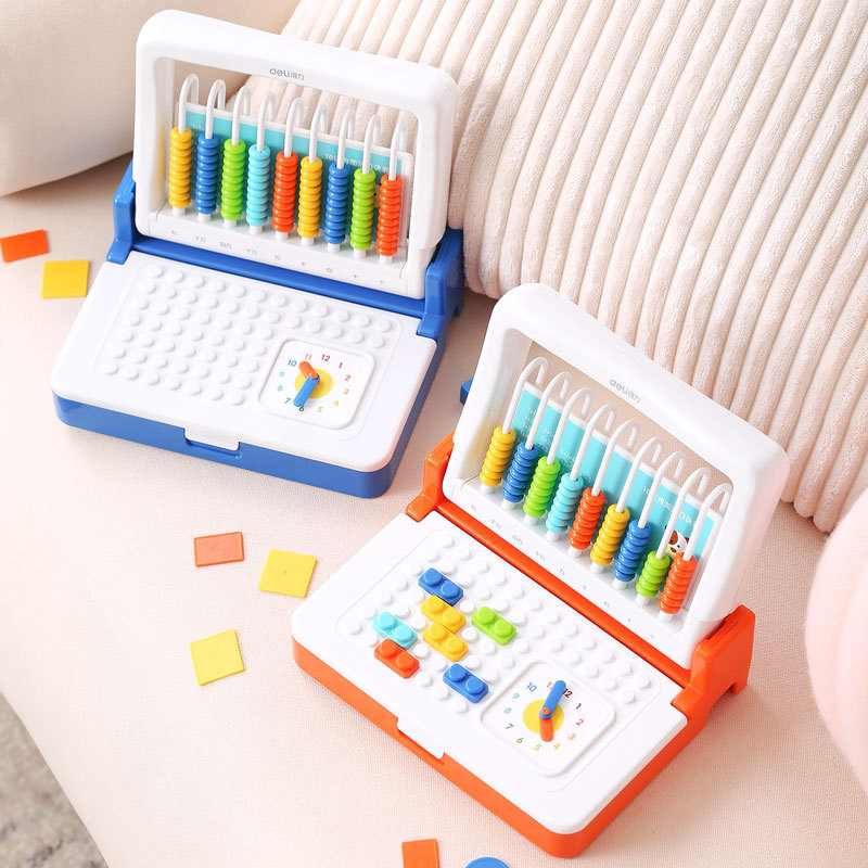 Deli 74318 Stationary Box Set Mathematics Learning Tools Counter First Grade 9 Line 2 In One Multi-functional Suan So Hot U Jia