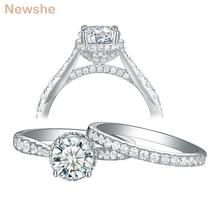 Newshe สตรีชุดหมั้นแหวนแต่งงาน 925 เงินสเตอร์ลิงเครื่องประดับสำหรับสตรี 7 มม.1.25Ct ตัดรอบ AAA Cubic Zircon 1R0052