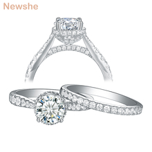 Newshe Conjunto de anillos de compromiso para mujer, joyería de plata de ley 925 para mujer, 7mm, CT, corte redondo, Circonia cúbica AAA, 1R0052