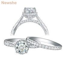 Newshe bayan düğün nişan yüzüğü seti kadınlar için 925 ayar gümüş takı 7mm 1.25Ct yuvarlak kesim AAA kübik zirkon 1R0052