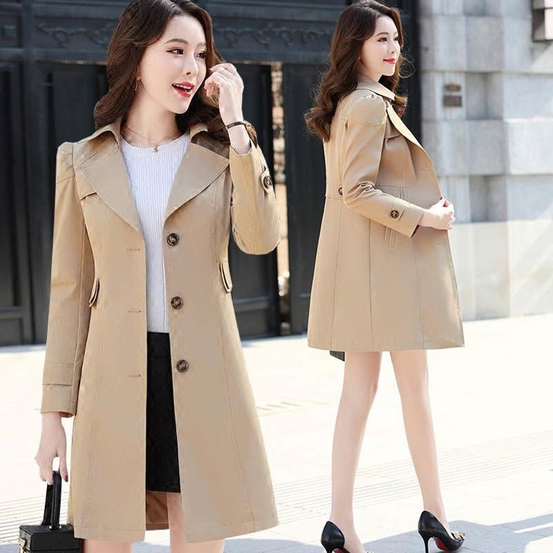 Spring Autumn Trench Coat Slim Single Breasted Trench Coat  Woman Trench Coat Long Women Windbreakers Plus Size Overcoat Femmino