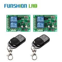 FUNSHION 433 Mhz Wireless Remote Control Switch AC 85V 110V 220V 2CH Relay Receiver Module & RF 433Mhz 4 button Remote Controls