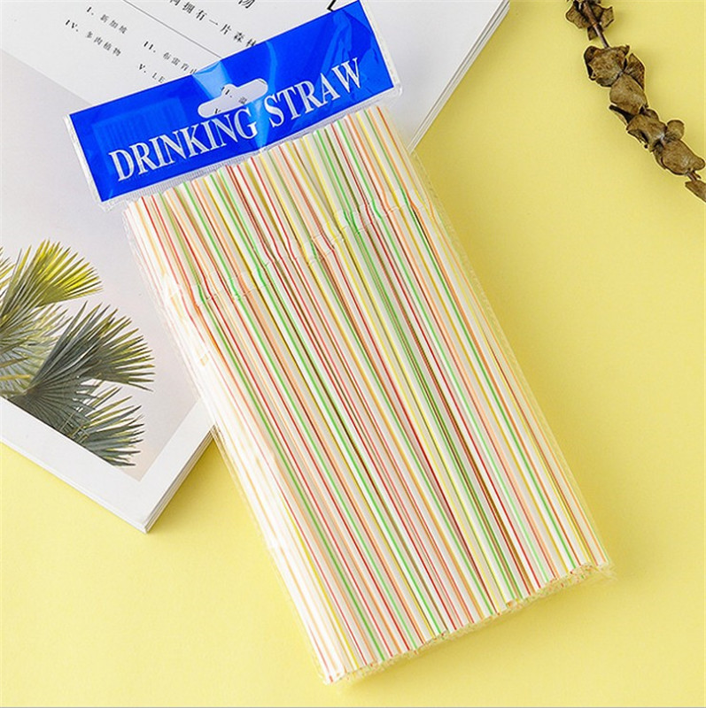 100 Pieces-Disposable Color Elbow Plastic Straw Lengthened Flexible Fruit Juice Beverage Milk Tea Straw