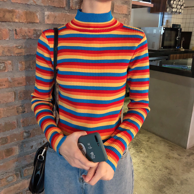 Winter Rainbow Knitted Women Sweaters And Long Sleeve Turtleneck Casual Pullovers Sueter Mujer Tops Korean Striped Acrylic Jumpe