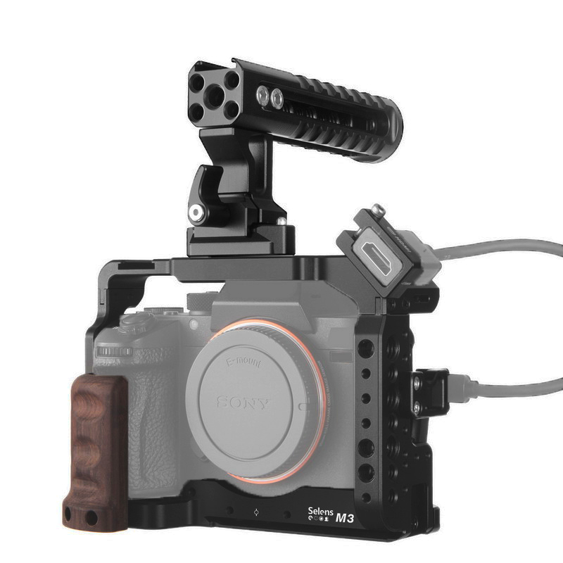 Selens a7iii a7r3 a7m3 Camera Cage Rig For A7III A7R3 A7M3 Cold Shoe Mount with Aluminum Top Handle Grip Pearwood handle