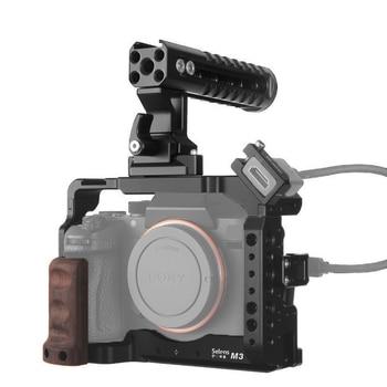 جهاز قفص الكاميرا Selens a7iii a7r3 a7m3 لـ A7III A7R3 A7M3 حامل حذاء بارد مع مقبض علوي من الألومنيوم ومقبض من خشب اللؤلؤ