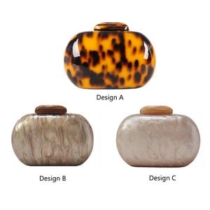 Image 5 - Mode Damen Handtasche Leopard Print Geldbörse Acryl Kupplung Tasche Oval Frauen Abend Tasche Vintage Party Geldbörse Schulter Tasche ZD1146