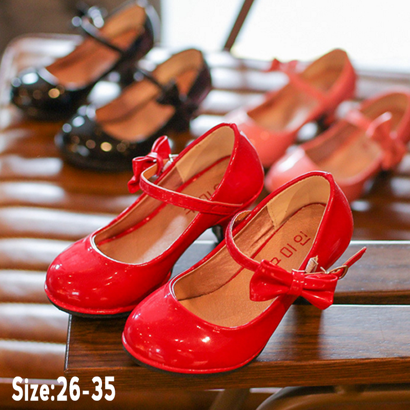 New Hot Sale Princess Shoes Girls Party Bow Shoes Shiny Solid Red Color High-heeled Fashion Shoes For Kids Size 26-35