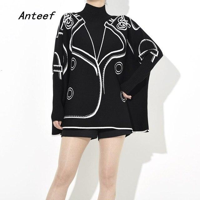 Dzianiny bawełniane plus rozmiar wzór przyczynowe luźne ponadgabarytowych jesień zimowy swetr pullover kobiety swetry ubrania 2019