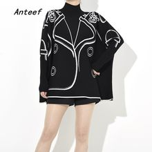 cotton knitted plus size Pattern causal loose oversized autumn winter pullover sweater women sweaters clothes 2019(China)